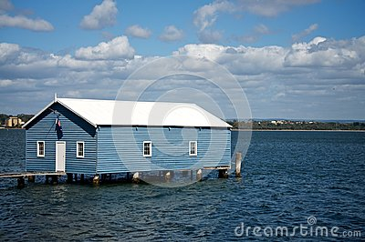 Boat shed on the river