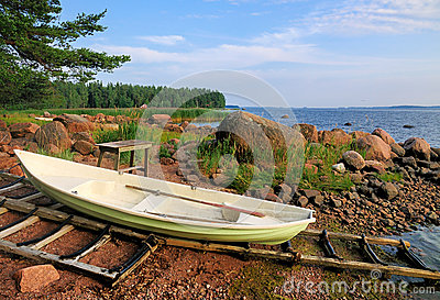 Boat on the shore in Finland