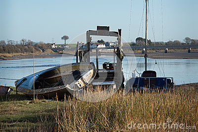 Boat on side by the River Wyre Editorial Photography