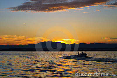 Boat silhouette in the sunset