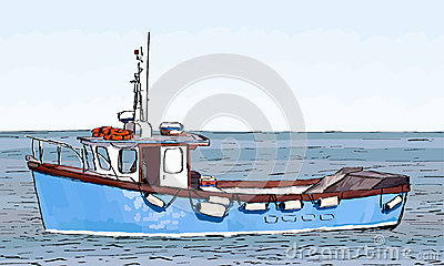 Boat Sketch with color fill