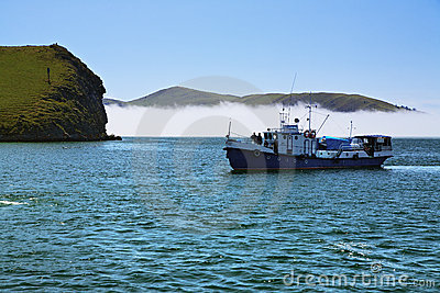 Boat in the Small Sea Strait of Lake Baikal