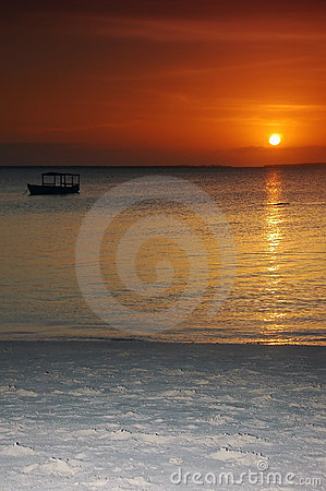 Boat in the sunset - Zanzibar