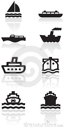Free Boat Symbol Vector Illustration Set. Royalty Free Stock Photo - 16641635