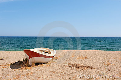 Boat on the tranquil beach