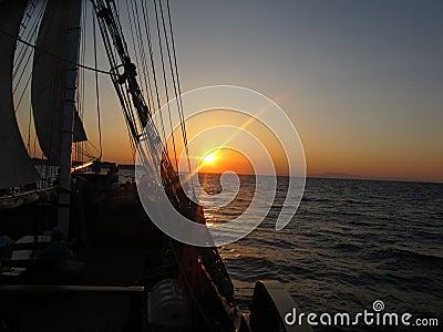 Sunset in Boat, Santorini