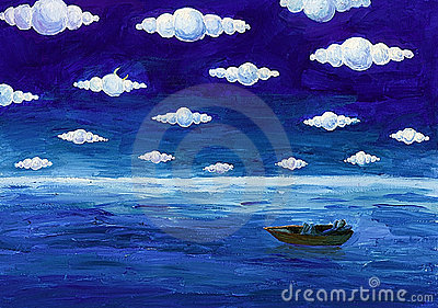 Boat under round clouds