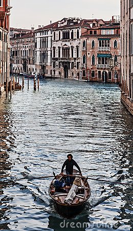 Boat on a Venetian Canal Editorial Stock Image