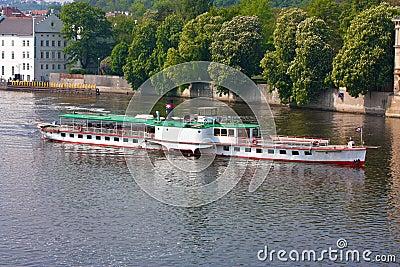 Boat on Vltava River