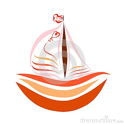 Free Boat With Sails With Balloon And A Heart Stock Photos - 118233553