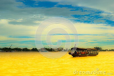 Boat On Yellow River Free Public Domain Cc0 Image