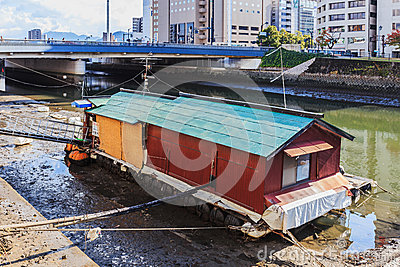 Boathouse in Hiroshima Editorial Stock Photo