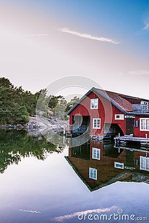 Free Boathouse On Harstena In Sweden Stock Image - 61653601