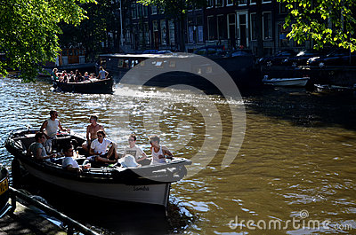 Boating in Amsterdam Editorial Photo