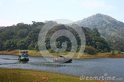 Boating at Periyar Tiger Reserve in Thekkady Editorial Stock Photo