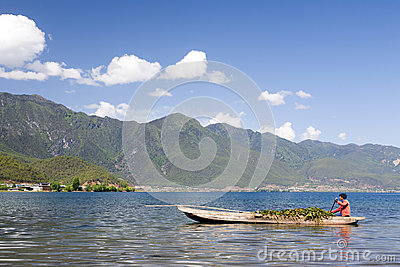 Boatman in Chinese Lake Editorial Image