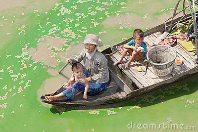 Boatpeople at Tonle Sap Lake in Cambodia Editorial Photography