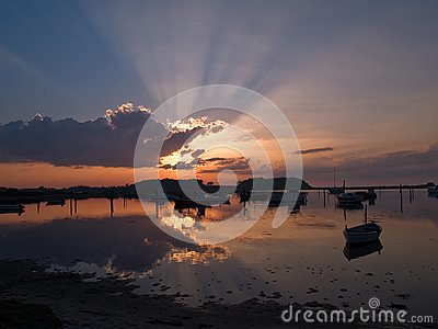 Boats in an amazing sunset