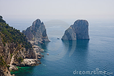 Boats Anchored by Capri Rocks