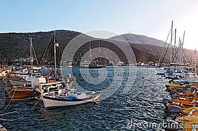 Boats anchored in marina