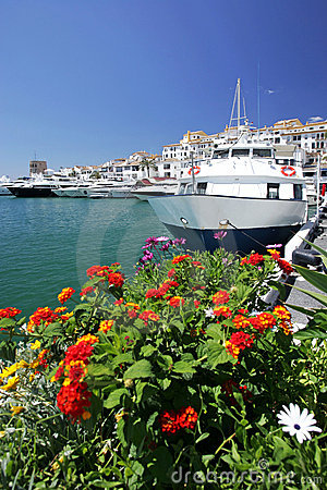 Free Boats And Flowers In Puerto Banus Marina Royalty Free Stock Photos - 170938