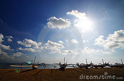 Boats on Bali beach