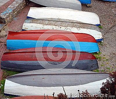 Boats on bank the Ohrid Lake