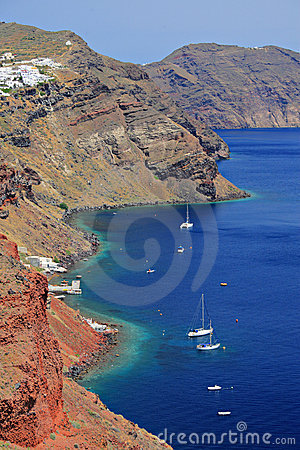 Boats in a bay on Santorini island