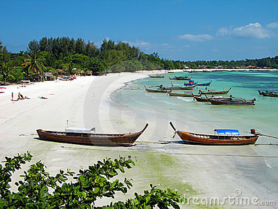 Boats at the beach on Lipe island, Thailand