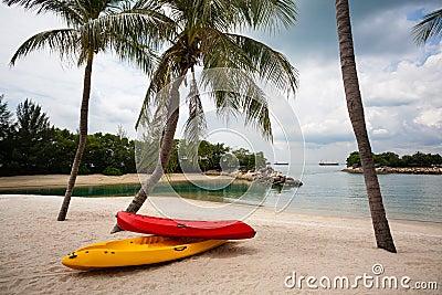 Boats on beach of Sentosa Island in Singapore.