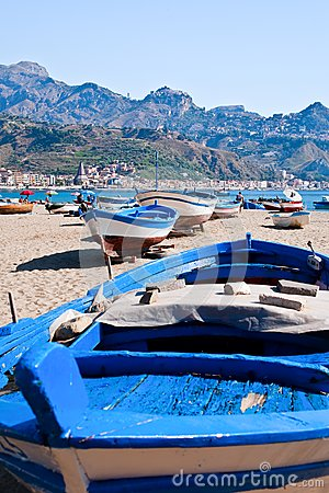 Boats on beach in summer day, Sicily