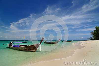 Boats on beautiful beach