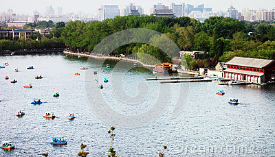 Boats in the Beihai park Editorial Image