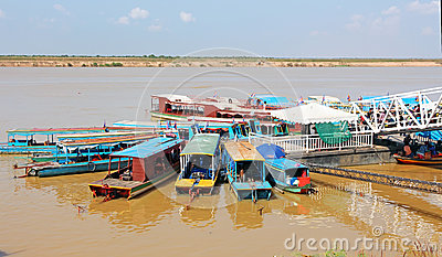 Boats in Cambodia Editorial Image