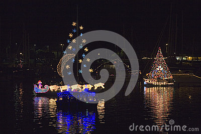 Boats with Christmas lights Editorial Image