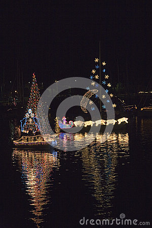 Boats with Christmas lights Editorial Stock Photo