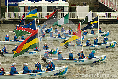 The boats of the Commonwealth in  Jubilee Pageant Editorial Photo