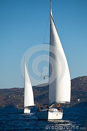 Boats Competitors During of sailing regatta Editorial Image