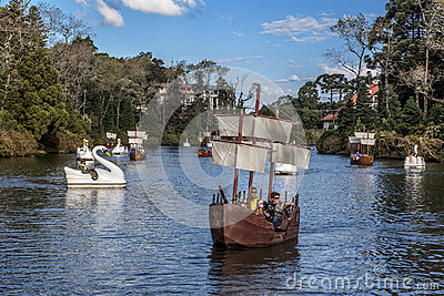 Boats on Dark Lake Gramado Brazil Editorial Stock Image