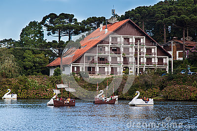 Boats on Dark Lake Gramado Brazil Editorial Image