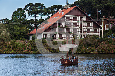 Boats on Dark Lake Gramado Brazil Editorial Stock Photo