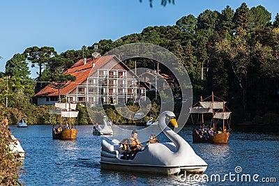 Boats on Dark Lake Gramado Brazil Editorial Stock Photo
