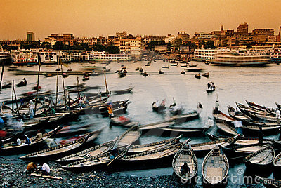 Boats in Dhaka, Bangladesh Editorial Stock Image