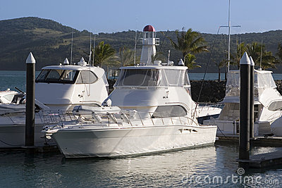 Boats docked in Whitsunday Island Marina