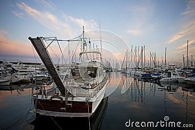 Boats at dusk Editorial Photo