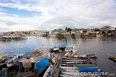 Boats, slums, Manaus, Brazil