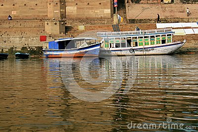 Boats in Gangas river bank, Ghats, Varanasi India
