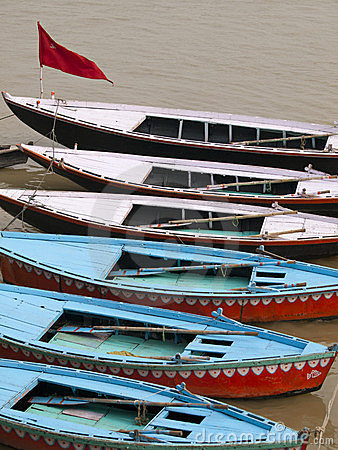 Boats in the ganges in Varanasi, India