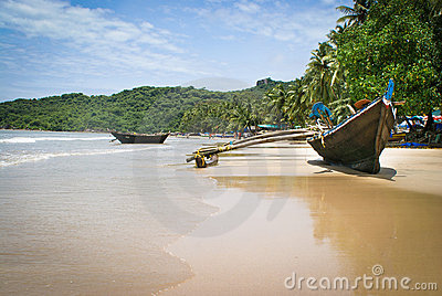 boats Goa tropical beach Editorial Photo