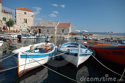Boats in the harbor Bol Brac Island Croatia
